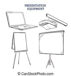 Business Presentation Sketch Elements Set