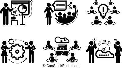 Meeting icons in black color. Business presentation teamwork concept. Internet cloud between businessmans