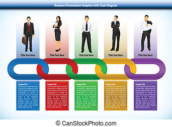 Business presentation template with interlinked colourful chain with each link representing a different perons or human input with corresponding text boxes below