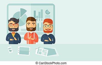 Business presentation - Three hipster Caucasian business men...