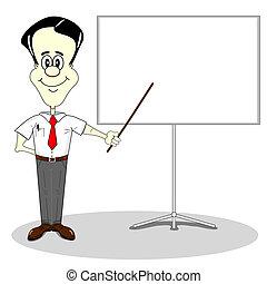 Business presentation - Businessman at a blank presentation...