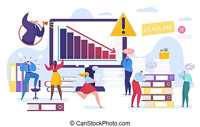 Business problem vector illustration, cartoon tiny people work in stress, flat man woman characters solving task together isolated on white