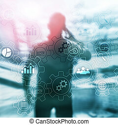 Business process abstract diagram with gears and icons. Workflow and automation technology concept. Man with mobile phone