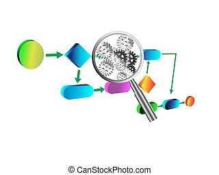 Business process Analysis - Vector illustration, detail...