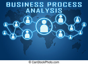 Business Process Analysis concept on blue background with...