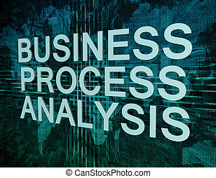 Business Process Analysis text concept on green digital...