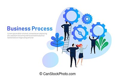 Business Process. Flat design concept for team building. Hands with gears. cooperation working together in company corporation