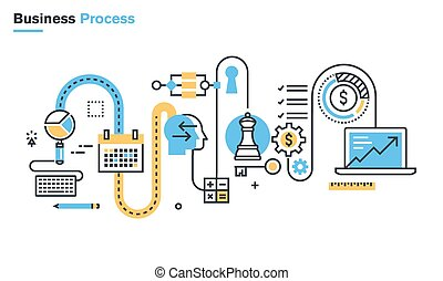 Business process - Flat line illustration of business...