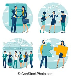 business process illustration set