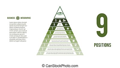 Business process infographic template. Pyramid for 9 text ...