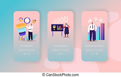 Business Process Mobile App Page Onboard Screen Template. Tiny People with Sales Funnel, Trainer Financial Consultation