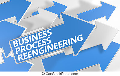 Business Process Reengineering 3d render concept with blue...