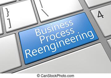 Business Process Reengineering - keyboard 3d render...