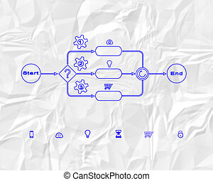 Business process sketch in blue color on Crumpled paper...
