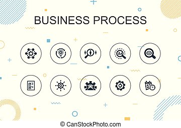 Business process trendy Infographic template. Thin line...