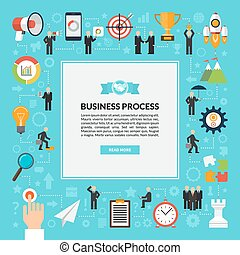 Business process vector background in flat style