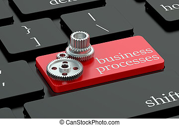 Business processes concept on keyboard button