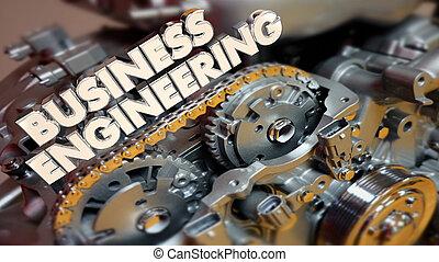 business, processus, système, illustration, amélioration, ingénierie, 3d