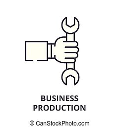 Business production line icon concept. Business production vector linear illustration, symbol, sign