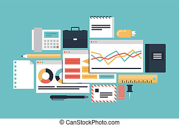 Flat design modern vector illustration icons set of business productivity development, office various objects and equipment and market process with diagram and charts. Isolated on stylish turquoise background