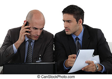 Business professionals dealing with a problem