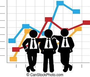 business, profit, graphique, hommes, ventes établissent graphique, croissance, équipe
