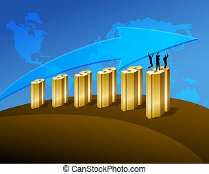 Happy people on business graph. Digital illustration. Gradients.
