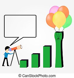Business profit growth graph chart with reflection, isolated on