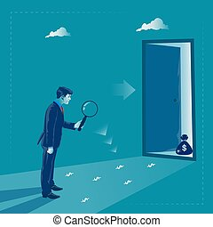 Business profit search. Metaphor, vector illustration