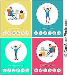 business, progrès, idée, et, reussite, à, icônes