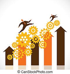 businessmen run over graph stock vector