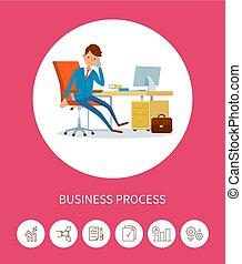 Business Progress Man Working on Laptop Device