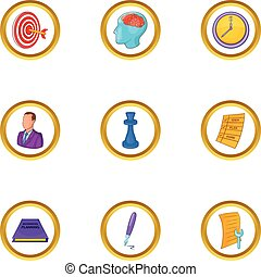 Business project icon set, cartoon style