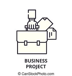 Business project plan line icon concept. Business project plan vector linear illustration, symbol, sign