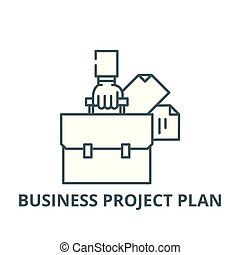 Business project plan line icon, vector. Business project plan outline sign, concept symbol, flat illustration