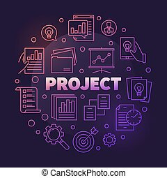 Business Project vector round colorful outline illustration