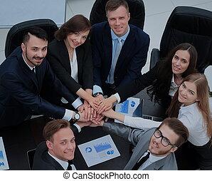 business, projection, équipe, ensemble, leur, unité, mains