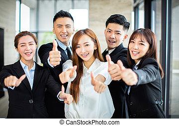 business, projection, haut, confiant, pouces, équipe, asiatique
