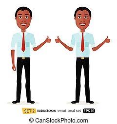 business, projection, haut, isolé, américain, vecteur, pouces, africaine, sourire, blanc, heureux, dessin animé, content, homme
