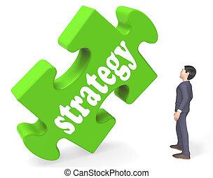 business, projection, stratégie, rendre, buts, solutions, ou, 3d