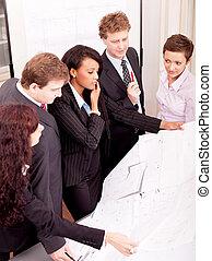 business, projet, équipe, architecture, regarder