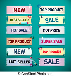 Business Promo Retro Paper Labels. New, Sale, Top Product Colorful Tags Suitable for Graphic Designs.