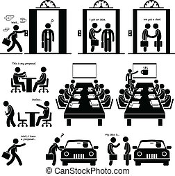 This is a set of people pictograms that represent a businessman working on a proposal to show to investors and venture capitalists.