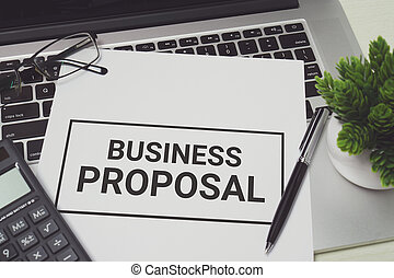 Business Proposal on white paper.