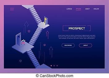 Business prospect - modern isometric vector website header