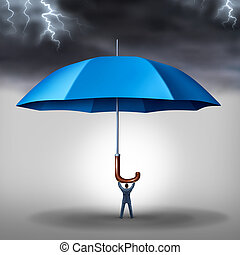 Business protection and risk management tax shelter as a businessman holding a blue umbrella with a storm and lightning above as a metaphor for security stress and a financial risks reduction concept.