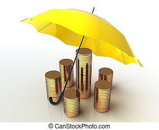 Business protection concept. 3d image. White background.