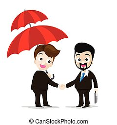 Business protection concept two of business man handshake agreement each holding the umbrella vector illustration eps10