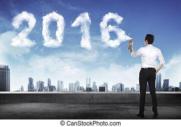 business, pulvérisation, forme, année, blanc, 2016, nuage, homme