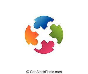 business puzzle community logo design